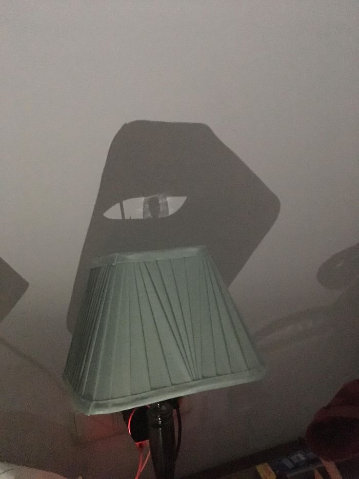Shadow From My Phone Torch On My Lamp Looks Like An Anime Eye