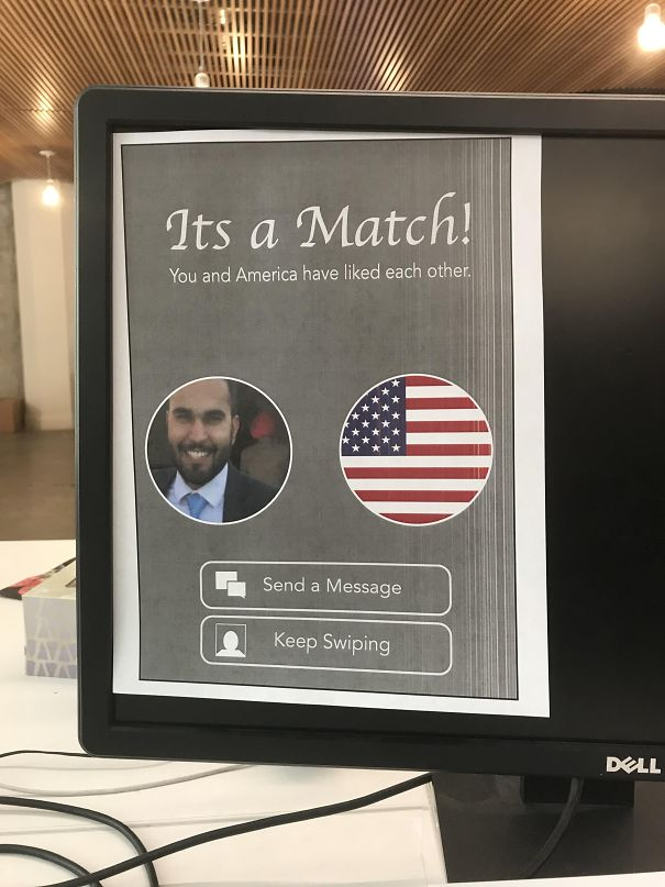 One Of My Coworkers Is Getting His Citizenship Today, So We Left Him A Surprise For When He Gets Back