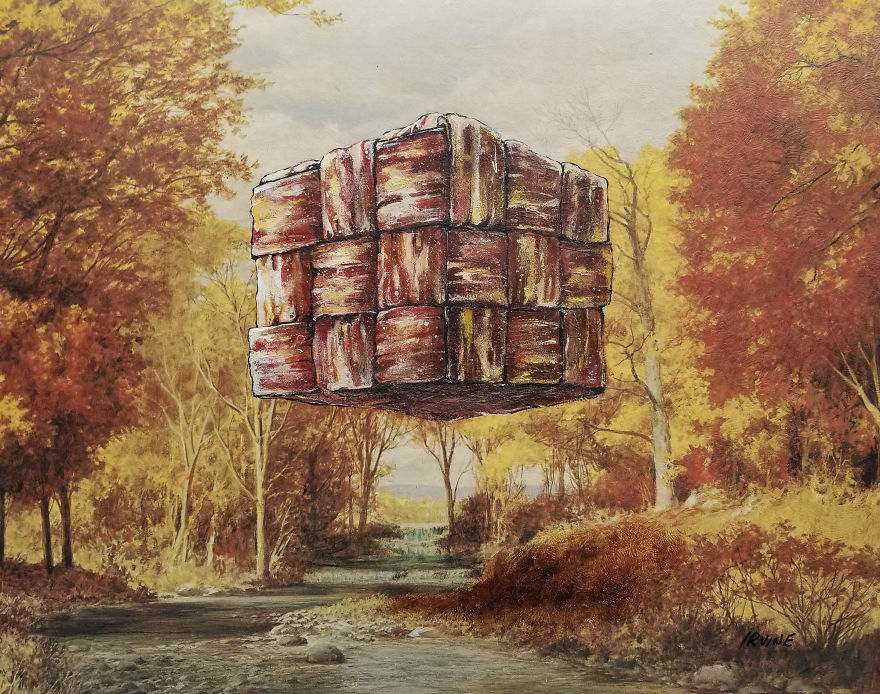 Cube Of Woven Bacon Hovering Over Stream