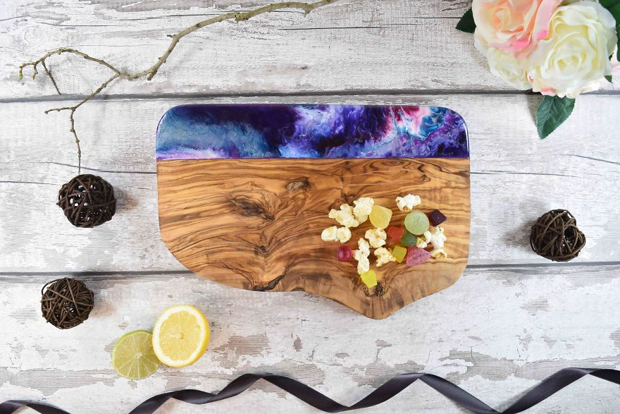 I Decorate Chopping Boards With Resin Art Inspired By Seascapes And Landscapes