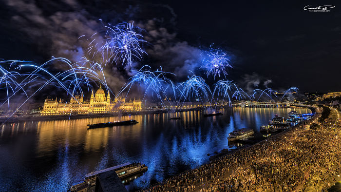 Fireworks Over The Parliament Of Hungary 2018