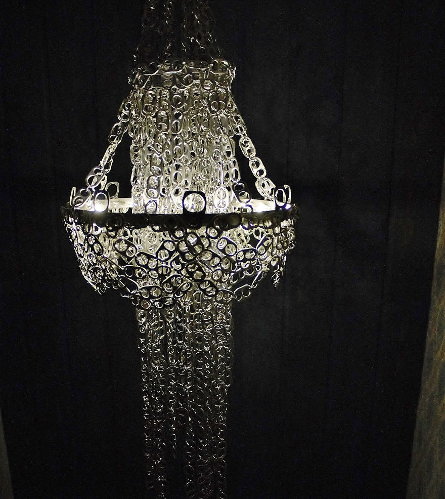 I made a chandelier from hundreds of soda can tabs bored panda finished chandelier lights on mozeypictures Gallery