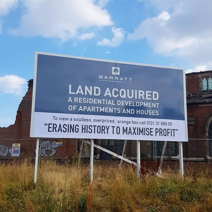 This Was A Billboard On A Housing Development Site, They Were Knocking Down A 100-Year-Old Church Which You Can See In The Background