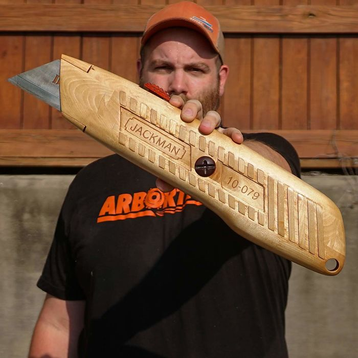 Carving A Giant Utility Knife Entirely Out Of Wood