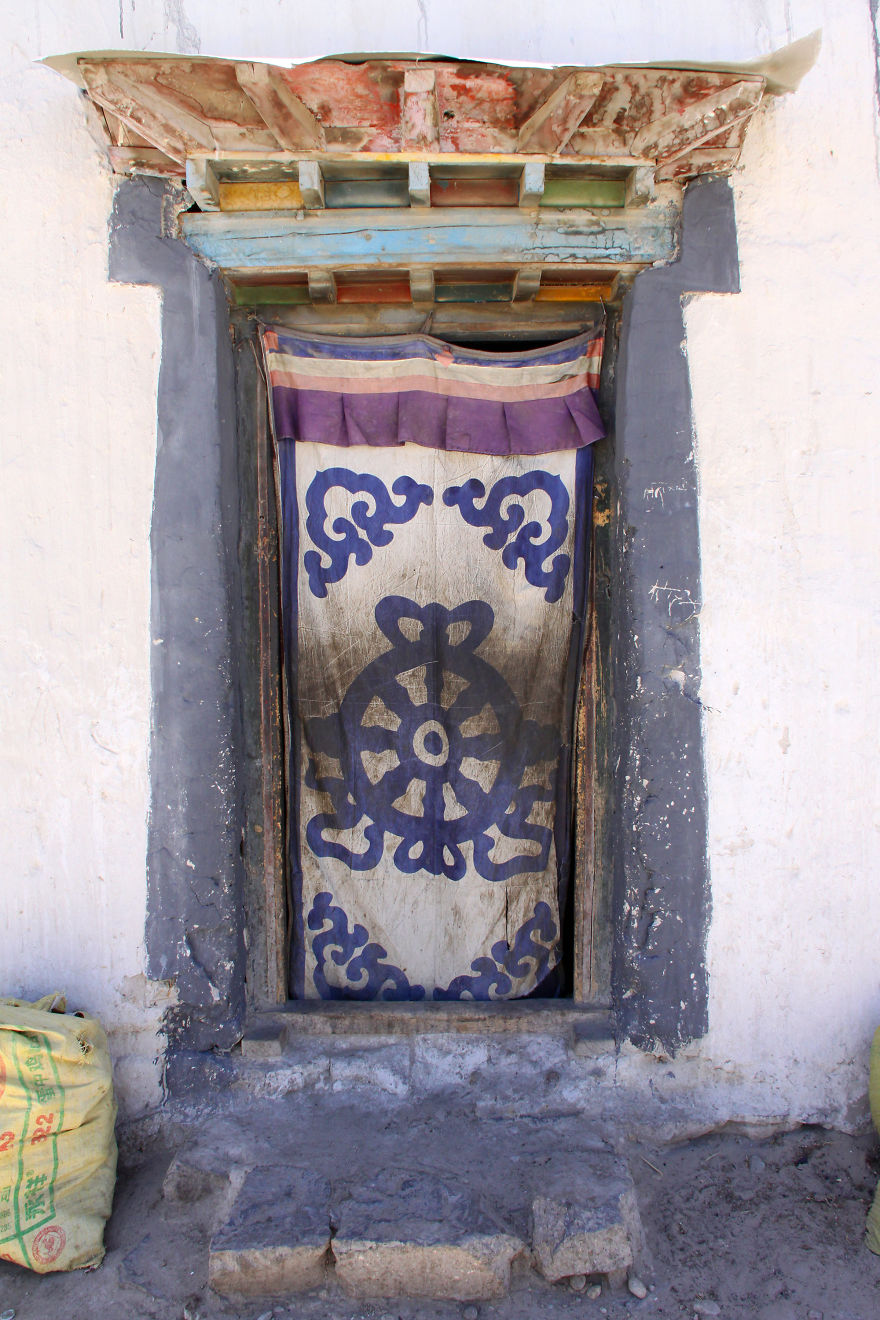 Entrance To A House In The Village Of Nyalam, Tibet, More Than 3500 Meters Above Sea Level And Close To The Nepalese Border