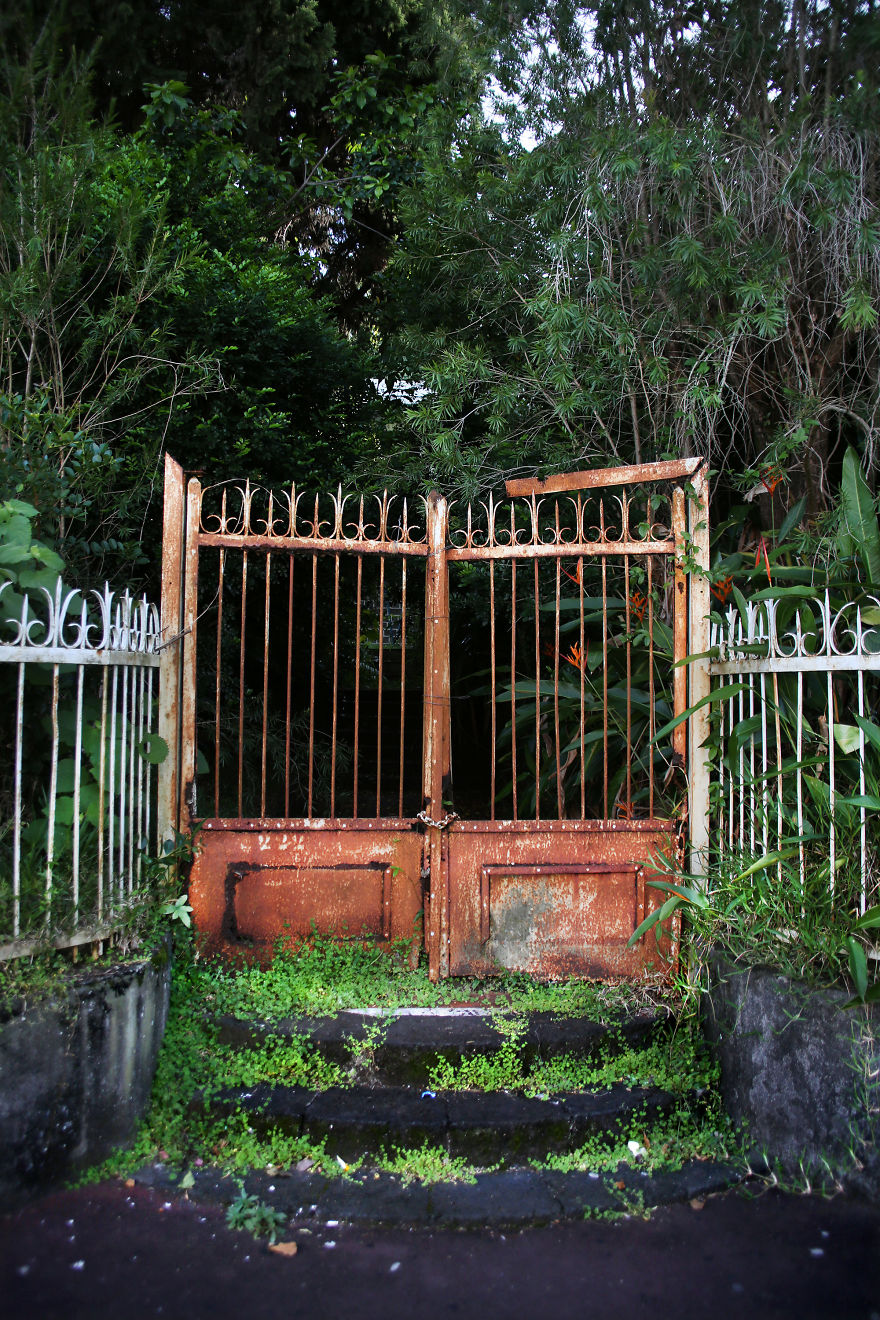Entrance To An Abandoned Property In Le Tampon, Reunion Island