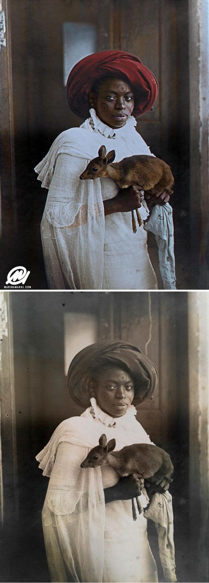 Young Kenyan Woman Holding A Dik-Dik, Mombasa, 1909