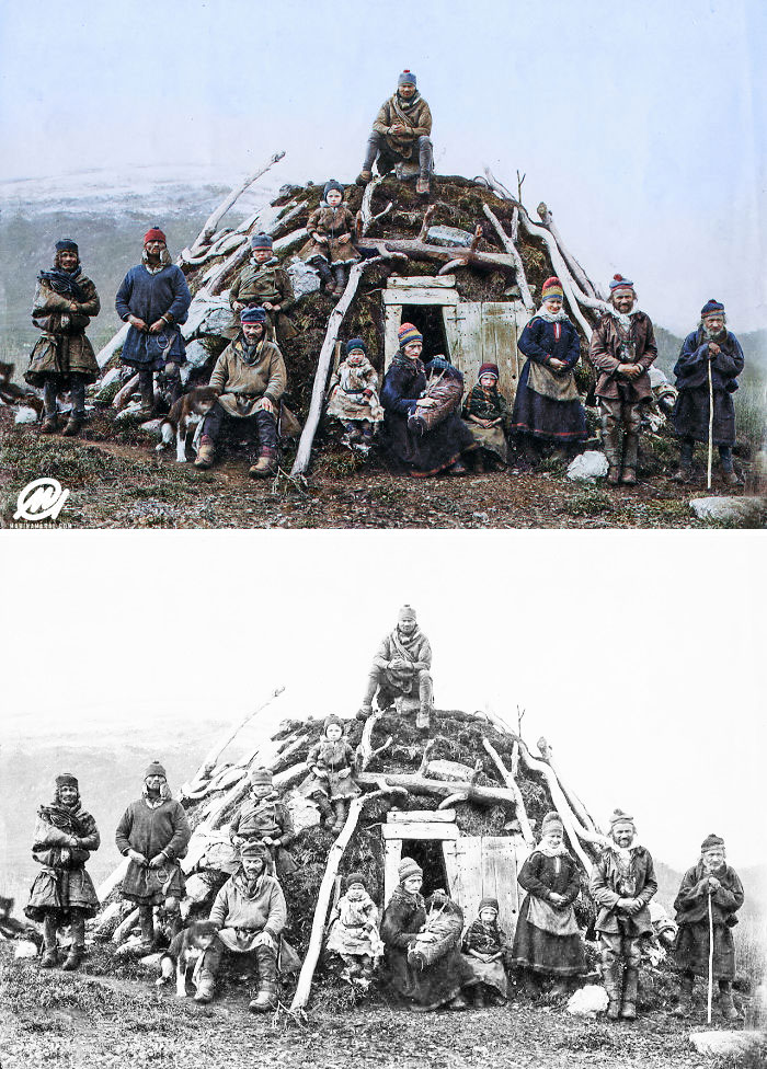 Sami People And A Traditional Peat Hut, CA. 1850