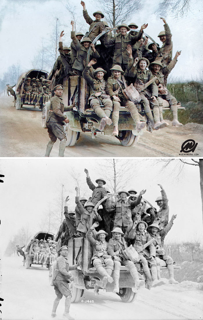 Canadian Soldiers Celebrating After Fighting On Vimy Ridge, April 1917