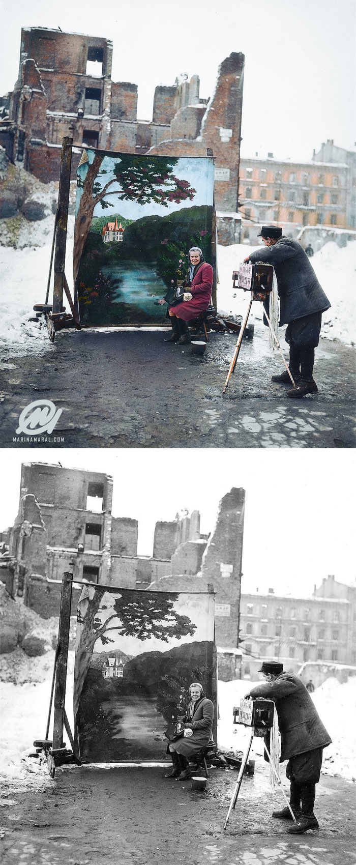 A Photographer Uses His Own Backdrop To Mask Poland's World War II Ruins While Shooting A Portrait In Warsaw In November 1946