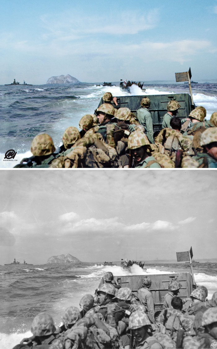US Marines In An LCVP Approaching Iwo Jima, Japan, 19 Feb 1945