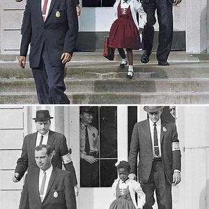 Ruby Bridges, escoltada para asistir a una escuela para blancos, 1960