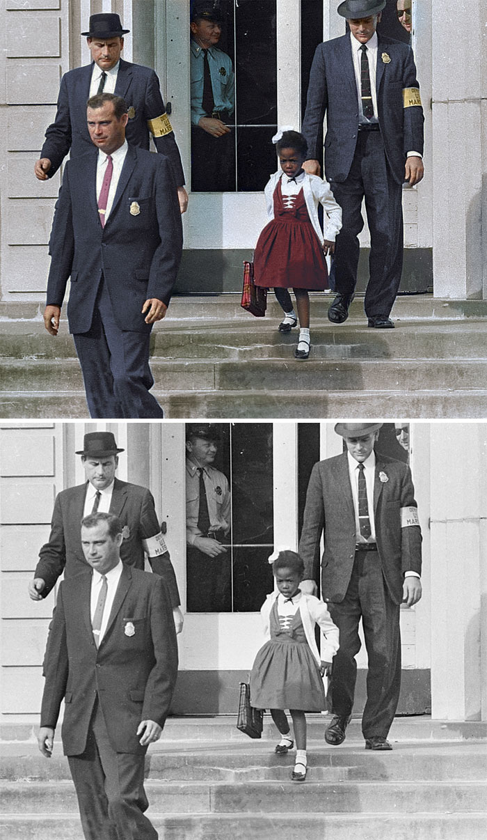 Ruby Bridges, Escorted By US Marshals To Attend An All-White School, 1960