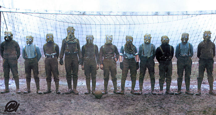 Soccer Team Of British WWI Soldiers Wearing Gas Masks, France, 1916