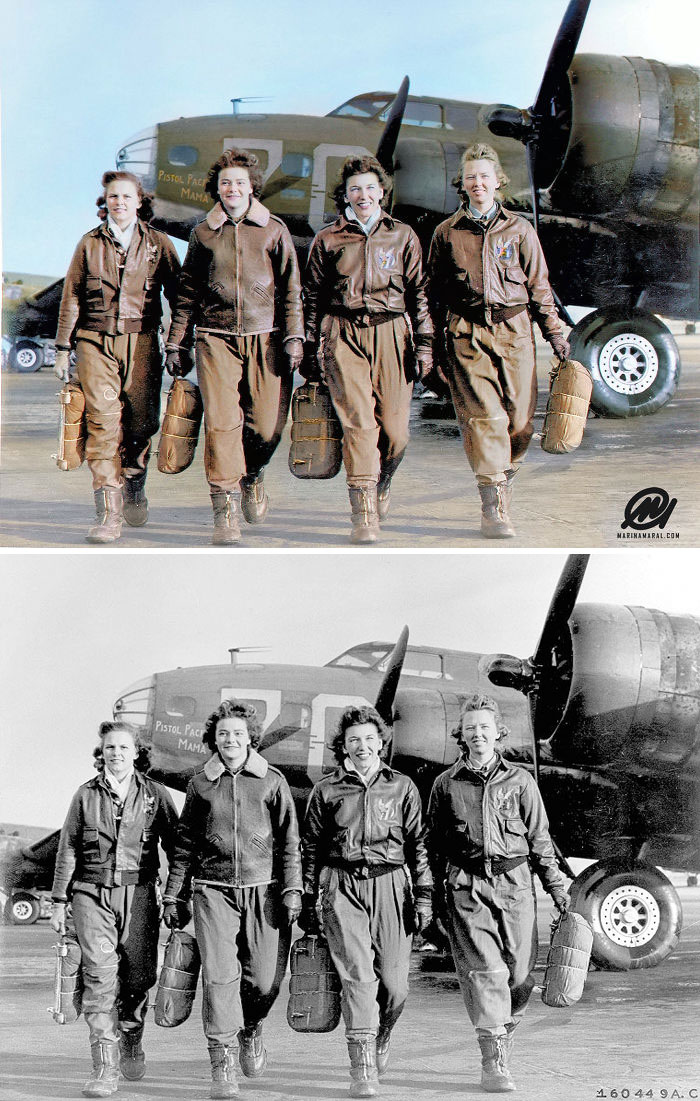 Four Female Pilots Leaving Their Ship, Pistol Packin' Mama, At The Four Engine School At Lockbourne AAF, 1944