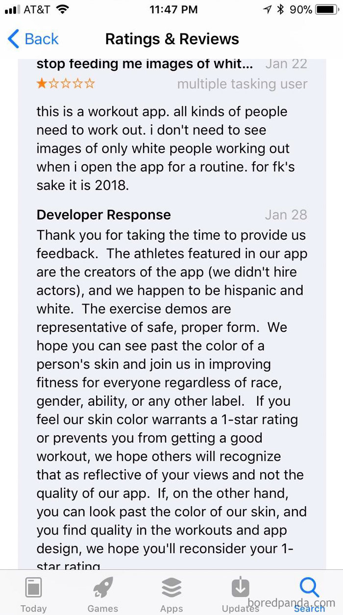 User Rated Workout App 1-Star Because They Don't Like The Race Of The Creators