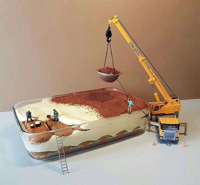 Confectioner Uses Desserts And Miniature People To Create Imaginary Situations