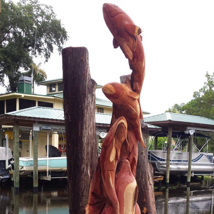 Creating Art Sculpture From Cedar Trees Damaged In A Hurricane