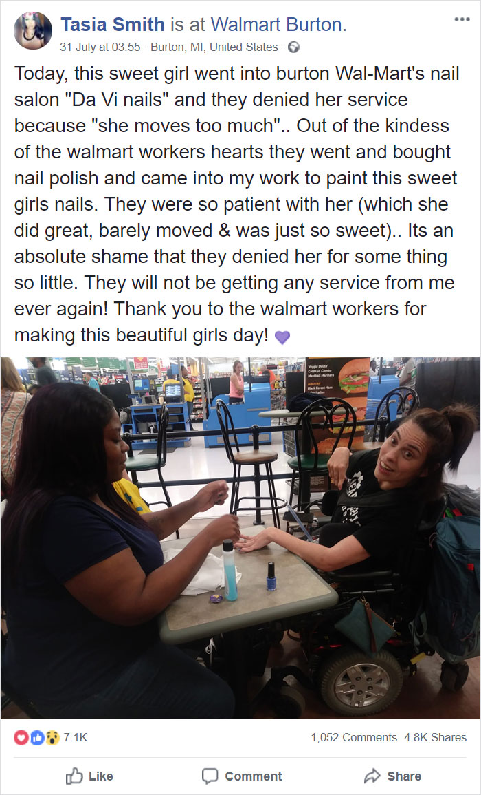 Kindhearted Walmart Cashier Paints A Wheelchair-Bound Woman's Nails After Salon Turned Her Away Because Her Hands 'Move Too Much' Due To Her Cerebral Palsy