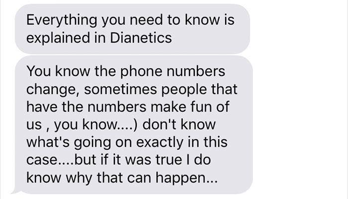 Girl Receives A 'Wrong Number' Message From A Scientologist