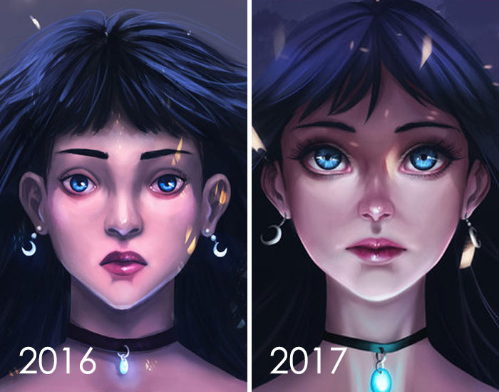 Redrawing My Old Artwork From 2016, Here Is My Year Progress