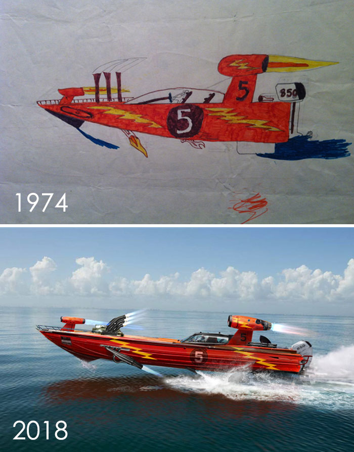 I Found An Old Drawing Of Mine From When I Was Seven Of My Mad Baller Speedboat - A Hybrid Blend Of Top Fuel Dragster, Funny Car, Racing Boat, Tactical Jet Aircraft And Whatever The Hell Else I Wanted. Then I Did An Adult Version To Homage The Original