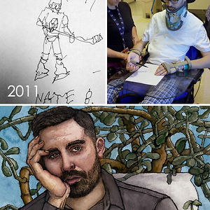 I Broke My Neck And Was Paralyzed In December, 2010. Here Is A Photo Of The First Drawing I Did In Rehab, With Assistance From My Recreational Therapist Ashley. Followed By A Self Portrait I Did 7 Years Later. I've Improved A Little