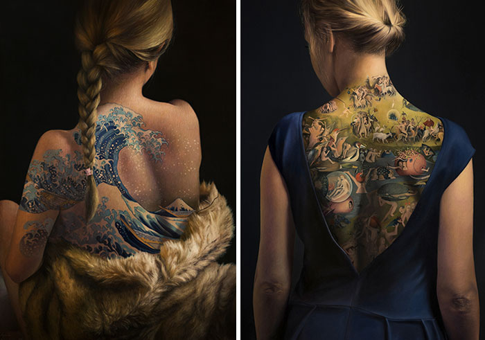 Famous Masterpieces Are Re-imagined As Tattoos On The Back