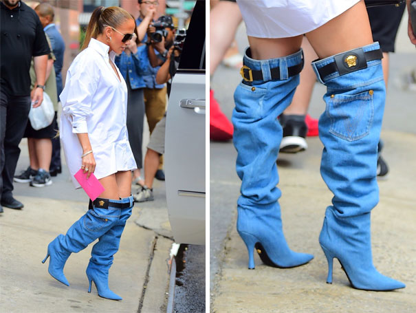Jennifer Lopez Wearing Versace Denim Boots