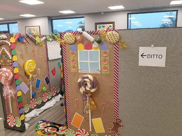 My Mom's Office Had A Decorating Contest For Their Cubicles. My Mom Is On The Left, But I Think Her Neighbor Deserved The Win
