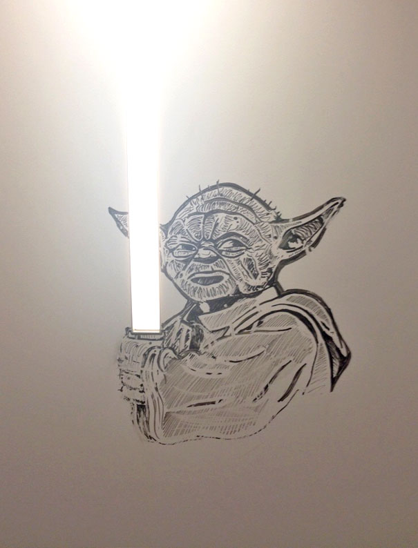 Brother's New Office Has All Dry Erase Walls. Someone Added Some Artwork Around The Wall Light