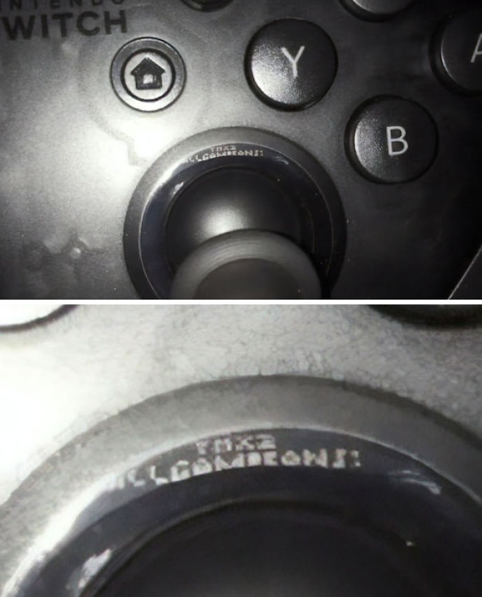"By Moving The Control Stick Down On A Nintendo Switch Pro Controller You Can See A Message Which Says ""THX2 ALLGAMEFANS!"""