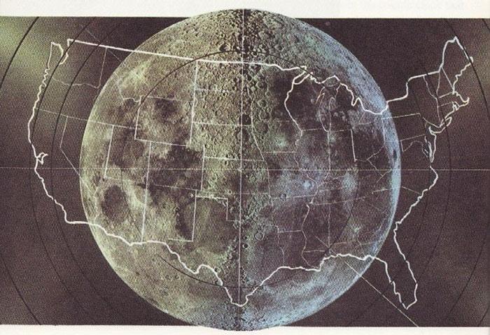Estados Unidos comparado con la Luna