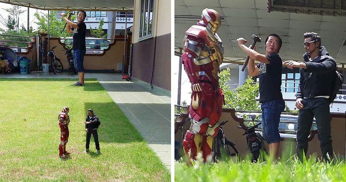 Wie dieser Mann Fotos mit Superhelden macht ist genial und lustig zugleich