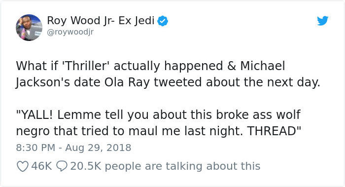 """michael jackson thriller girl date perspective twitter thread roy wood jr 1 5b88e7e1e0899  700 - Twitter Is Laughing Out Loud At The Means Michael Jackson's """"Thriller"""" Regarded From The Lady's Perspective"""
