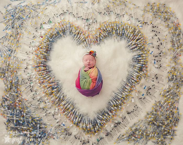 Viral Photo Shows Newborn Baby Surrounded By The 1616 Injection Needles It Took To Make It