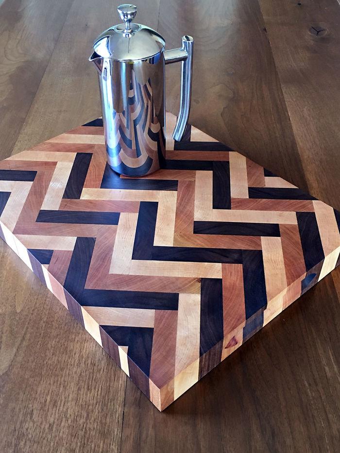 True Herringbone Design Cutting Boards Painstakingly Handmade