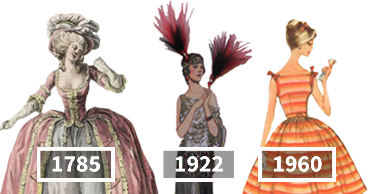 Illustrated Examples Of Women's Fashion Every Year From 1784-1970 Show Just How Much Has Changed