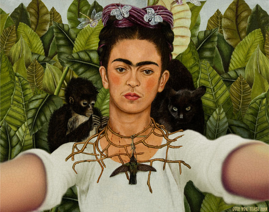 Self-Portrait With Thorn Necklace And Hummingbird - Frida Kahlo, 1940