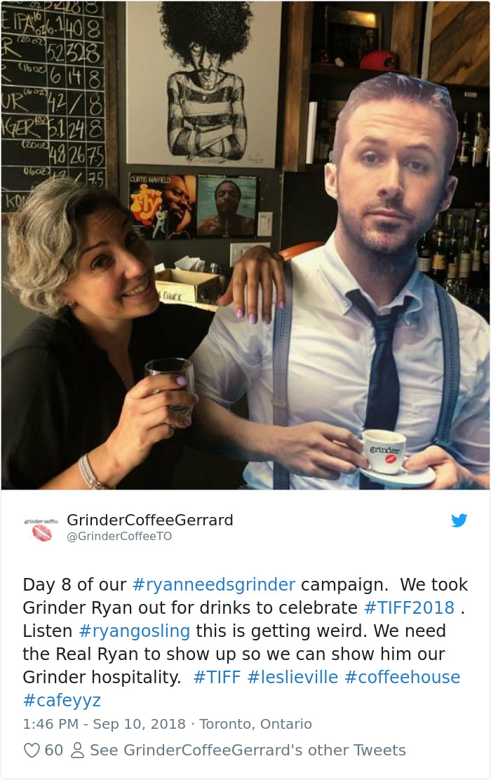 Small Cafe In Toronto Launches Twitter Campaign To Get Ryan Gosling To Visit It, And He Actually Does