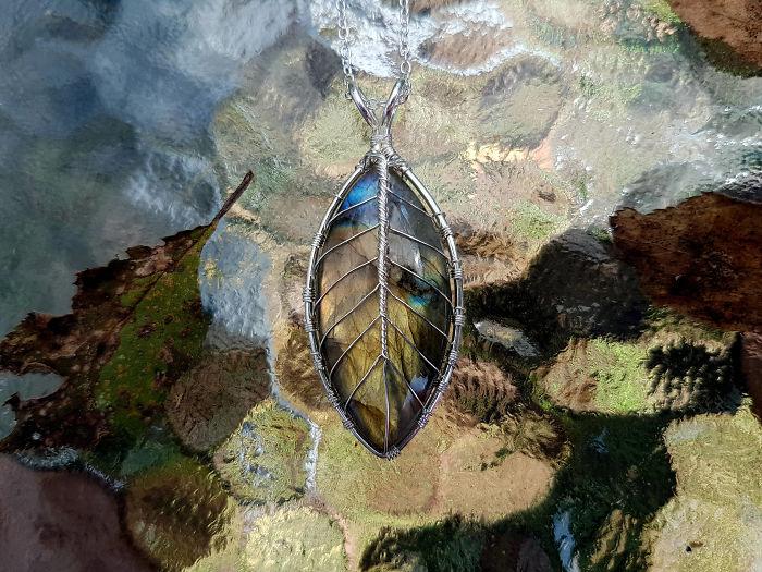 I Made Some Gemstone Leaf Necklaces.