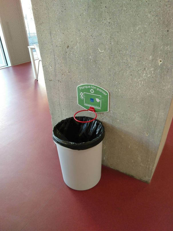 My School Fights Littering By Installing Basketball Hoops Above Trash Cans
