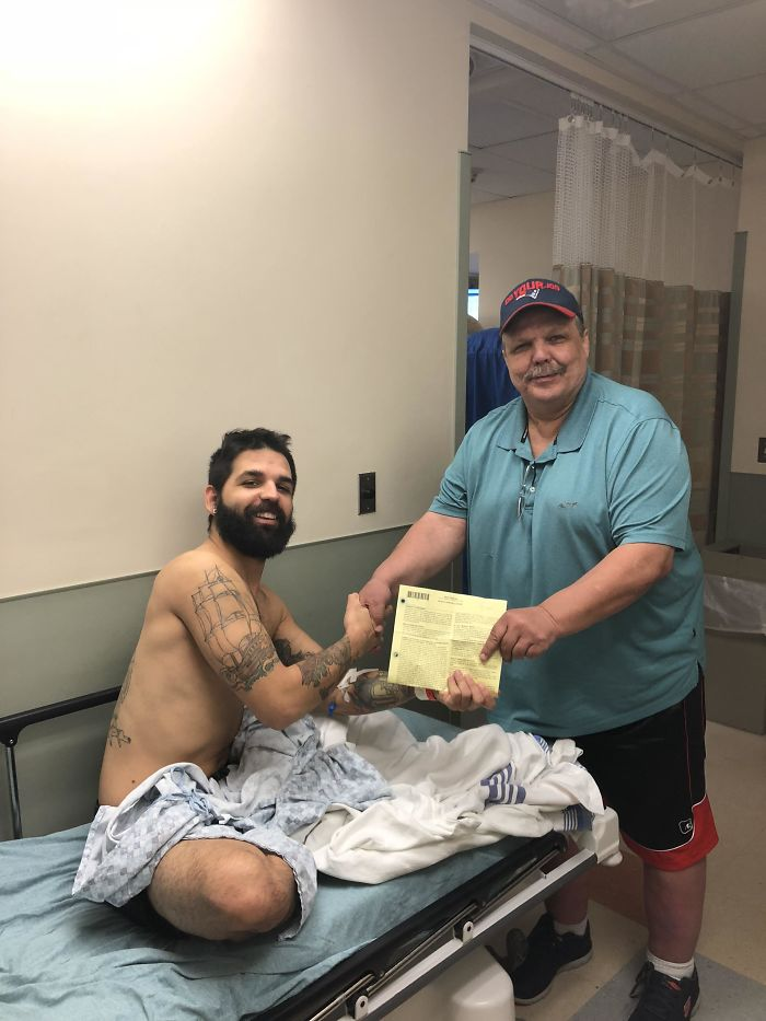 Missed My Master's Graduation Because Of Aerosinusitis And Rushed To Emergency Room. Here's My Dad Handing Me My Insurance Papers Pretending To Graduate Me