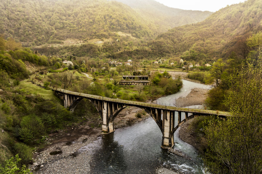 A Disused Rail Bridge In The Mountains
