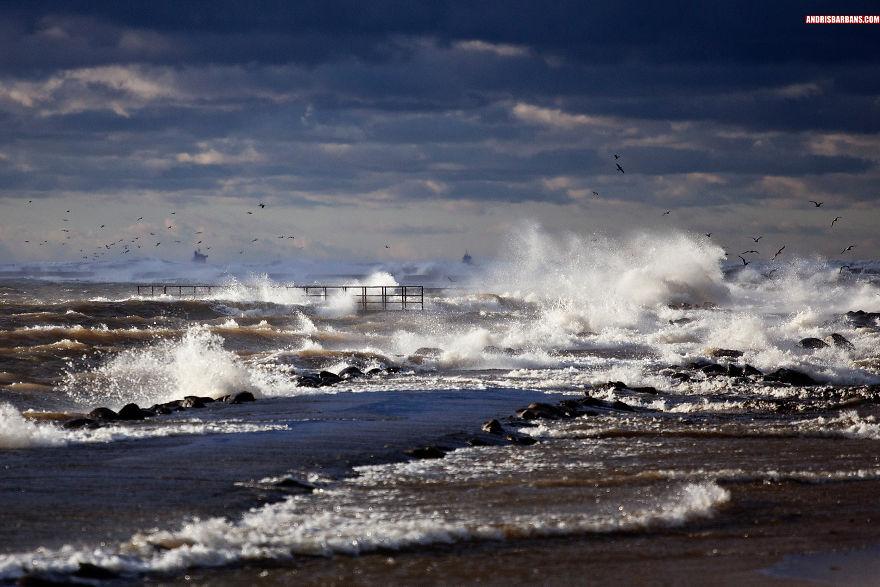 The Eastern Daugava Breakwater In Storm