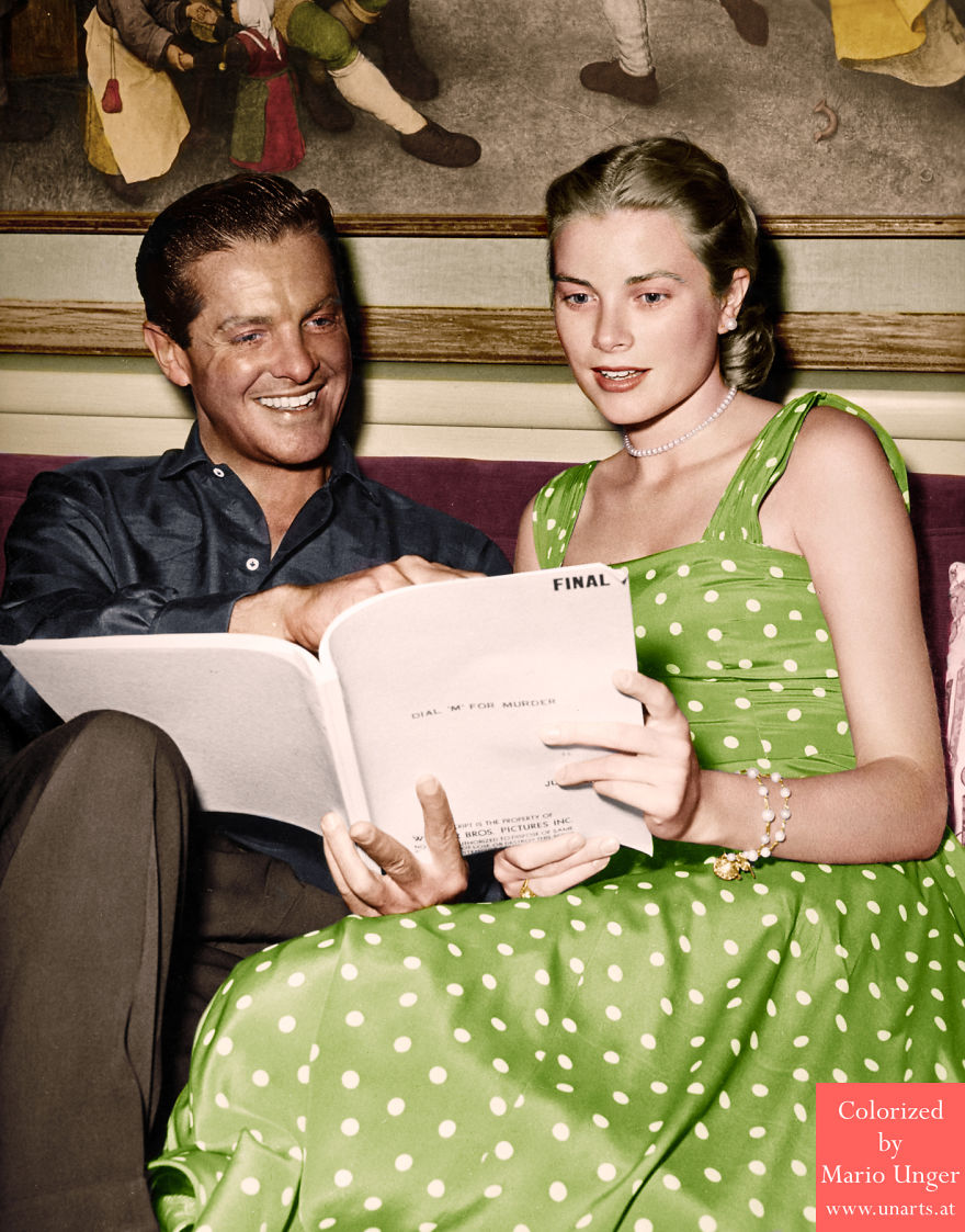 Grace Kelly With Robert Cummings, Famous Bruegel Painting On The Wall