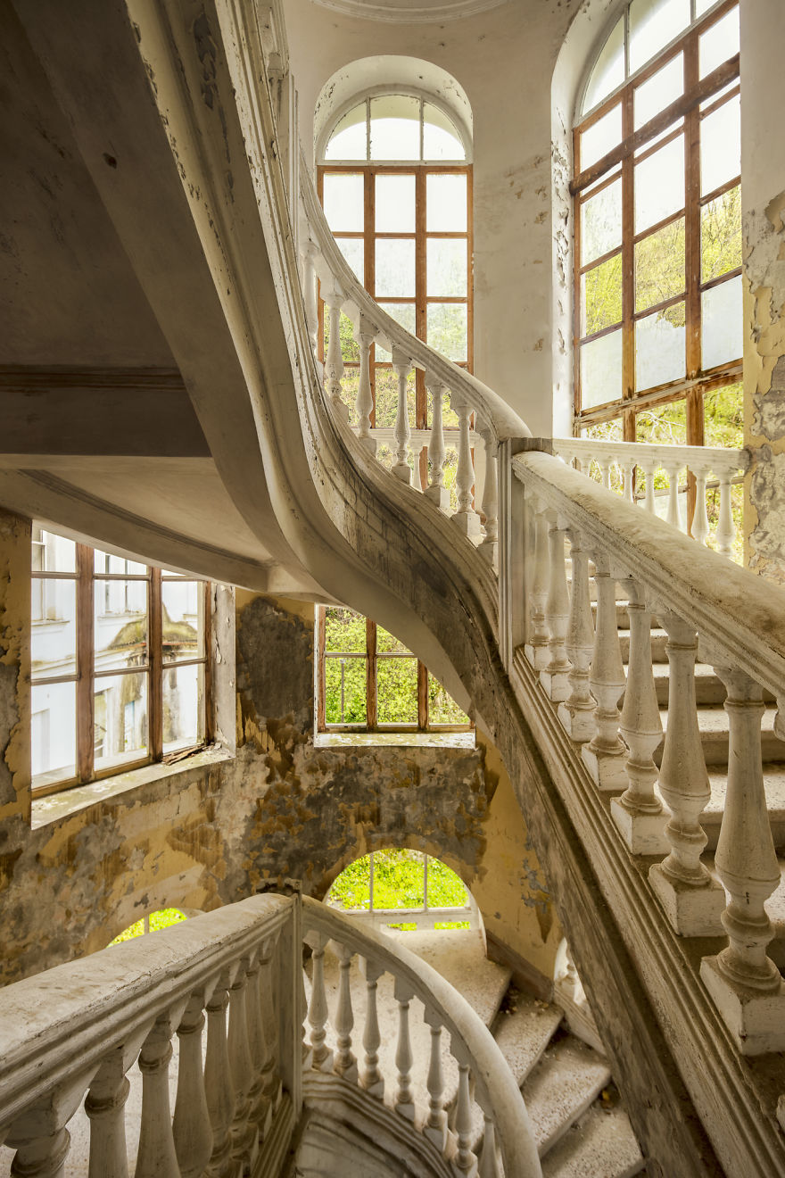 Beautiful Staircase Inside An Abandoned Hotel