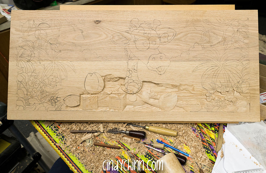 I Hand Carved Two Wooden Toy Boxes For Twins Designed Based On Their Favorite Toys