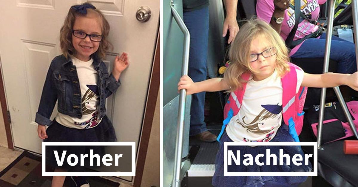 26 lustige Fotos von Kindern vor & nach Ihrem ersten Schultag