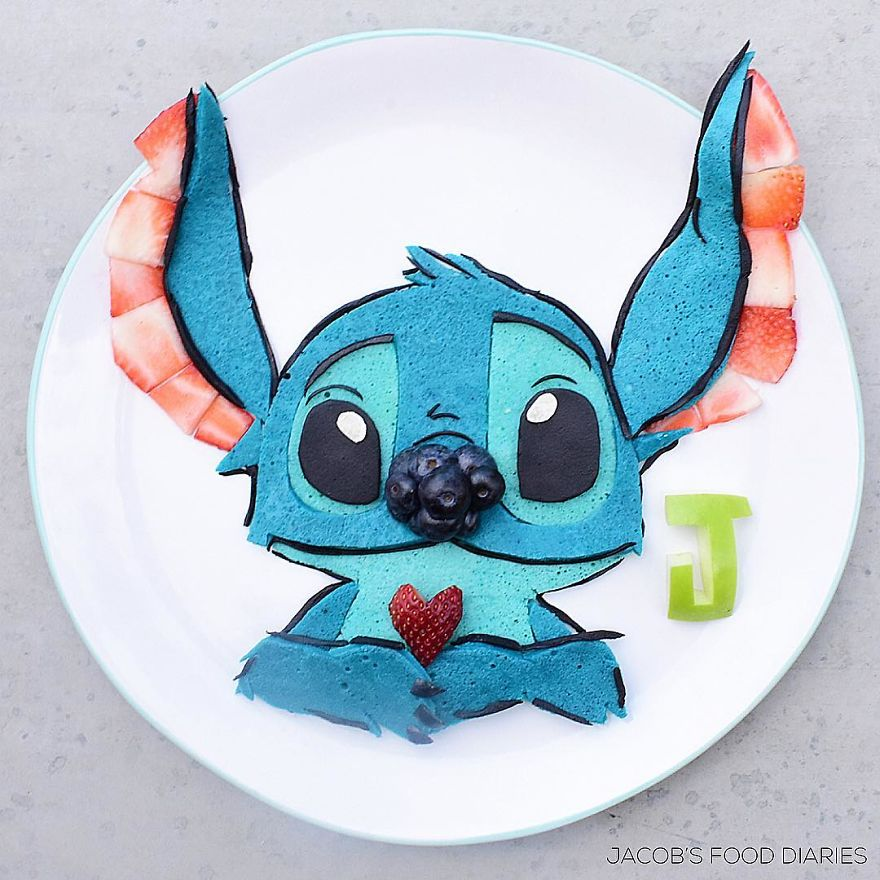 Stitch From Lilo And Stitch - Spelt Pancake (Dyed Using Matcha Blue) And Fruit